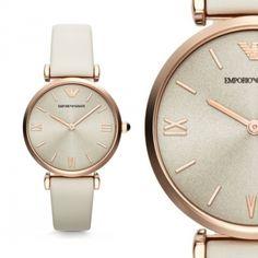 Emporio Armani AR1769 Weiß Leder Damen Armbanduhr Elegant Roségold NEU & OVP