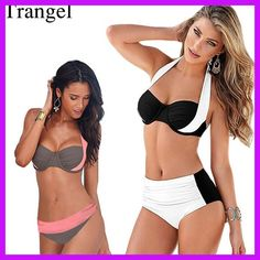 Women Patchwork High Waist Push Up Bikini Brazilian Beach Wear Plus Size Biquini Cintura Alta Bathing Blockcolor Swimwear 20