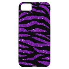 purple Sparkle & Glitter zebra print iPhone 5 case