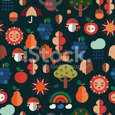 Autumn icons seamless pattern royalty-free vector art illustration