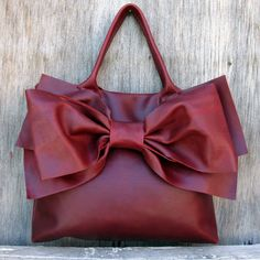 leather bow purse :) #etsy stacyleigh leather bags