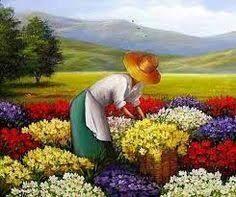 Resultado de imagem para pinturas de feira de  flores