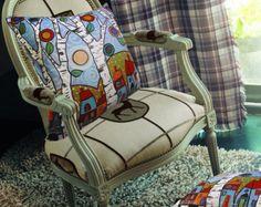 "VELVET PILLOW COVER Checker Town 16""x16"" Folk Art Abstract Primitive Colorful Karla Gerard"
