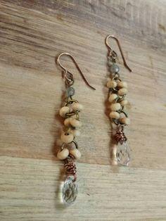 Beachwood earrings with crystals.  Airgwa jewelry