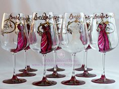 Personalized Hand Painted Bridesmaids Dress Wine Glasses (Set of 10) – A Wincy Glass N Design, LLC