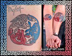 'Three Loves' Celtic Animals Tattoo — LuckyFish, Inc. and Tattoo Santa Barbara Dedication Tattoos, Pair Tattoos, Celtic Animals, Tattoo Ideas, Tattoo Designs, Tattoo For Son, Go It Alone, Celtic Tattoos, Father And Son