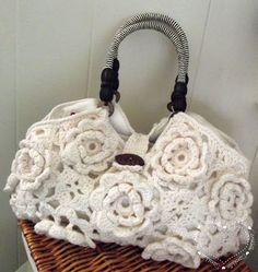 Beautiful rose crochet bag with terrific handles and hardware via SarahSweethearts