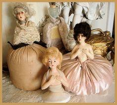 French Antique Chalkware half dolls