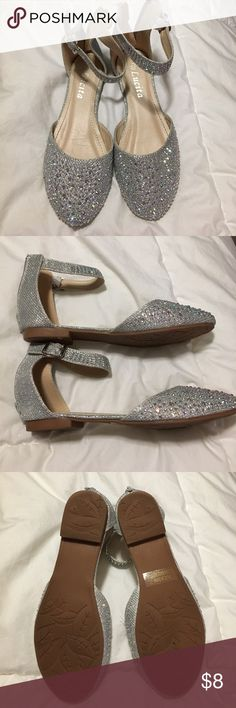 Silver girl's flats Very sparkly girl's flats with ankle strap. Never worn. lucita Shoes Dress Shoes