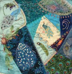 I ❤ crazy quilting & embroidery . . .  Peacock RR - Susan's block - Crazy Quilting International
