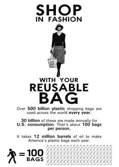 Shop In Fashion With Your Reusable Bag.  Disposable Is So TRASHY!