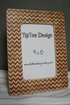Red and Cream Chevron 4x6 frame by TipToeDesign on Etsy, $10.00