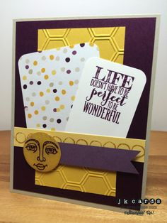 Stampin' Up!, Mojo 357, Perfect Pennants, Ray of Sunshine, Draw the Line Photopolymer, Moonlight DSP Stack, Honeycomb Embossing Folder, Window Sheet, Crystal Effects