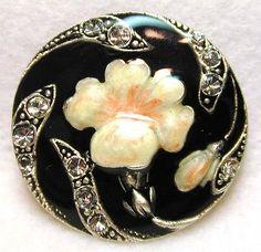 Enameled Collector Button Art Nouveau Flower w/ Paste