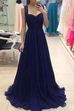 Simple navyl blue chiffon long prom dress, simple floor-length bridesmaid dress