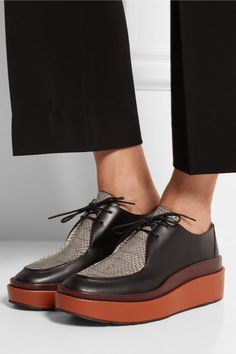 Jil Sander | Ayers-paneled leather platform loafers | NET-A-PORTER.COM