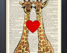 Giraffes poster, Love Funny print, gift poster, Dorm College Home Wall decor, Dictionary book page Print, CODE/146