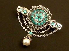Kleine Haarspange in silber mit Juwelen Motiv mit von Schmucktruhe
