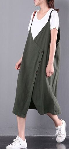 new green casual linen sleeveless dress