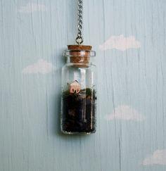 Terrarium bottle necklace