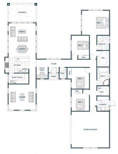 Floor Plan Friday: H-shaped smart home with two separate and distinct wings - Smart House - Ideas of Smart House - I am a bit of a sucker for any H-shaped floor plans which have wings. Id love a home where the living and bedrooms are U Shaped House Plans, U Shaped Houses, New House Plans, Dream House Plans, Modern House Plans, Modern House Design, The Plan, How To Plan, Bungalow Floor Plans
