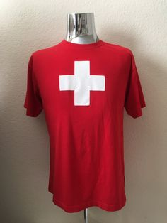 Vintage Men's 80's T Shirt, Red, Lifeguard, Short Sleeve (L) by Freshandswanky on Etsy