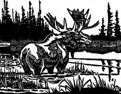 JOHN TOPELKO - Bull Moose, 1988, woodblock/paper