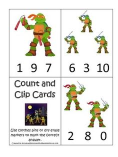 One of our preschool educational game downloads in a PDF file.  Here is what you get!  1 Teenage Mutant Ninja Turtles themed Count and Clip math cards that prints 11 clip it cards and 1 instructions card.  We use these types of educational games in our learning center with children ages 2-6.