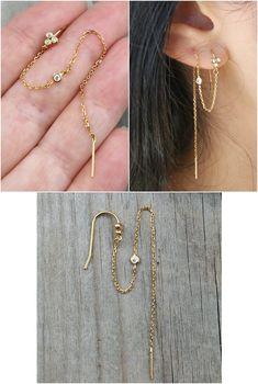 MINI Ear Cuff Cartilage Faux Helix,Fake Helix Earring No Piercing Hoop Simple Earcuff Non-pierced Upper Ear Hoop Gold Triple Rope - Custom Jewelry Ideas Faux Piercing, Double Ear Piercings, Cute Ear Piercings, Crystal Earrings, Crystal Jewelry, Gold Earrings, Double Earrings, Ear Earrings, Stud Earring