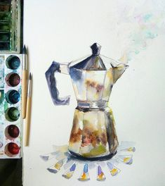 If you need a gift for a passionate coffee lover, or a kitchen home decor, this coffee pot wall art will be great gift idea. This is my original watercolor painting, painted on 28*35cm/10,6*13,8 Fabriano watercolor painting, 300 gsm. I love different styles of coffee brewing, thats why