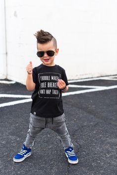 Inspiration Fashion Raxtin tee shirt boys toddler kids cool tshirt edgy Adam and yve moto pants