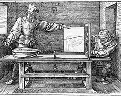 Albrecht Durer - man drawing a lute.