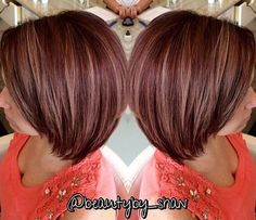 plum red bob with caramel highlights