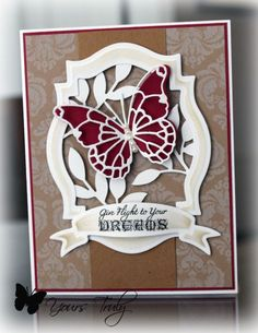 4/17/2013; YoursTruly at Splitcoaststampers; Memory box die, Labels 18, SU Little Leaves, Ribbon banners; JustRite Botanical Butterflies stamp; Paper: Recollection Damask, SU Razzleberry