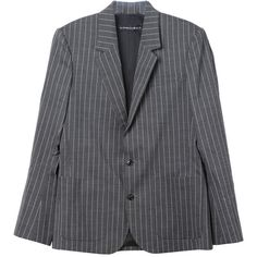 Y Project Pinstripe Blazer (5.545.235 IDR) ❤ liked on Polyvore featuring outerwear, jackets, blazers, pinstripe jacket, blazer jacket and pinstripe blazer