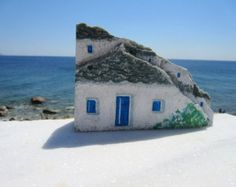 This is an original hand painted Greek rock, coming from Ikaria, the Blue Zone Greek rocky island of longevity & serenity. It's a one of a kind piece.