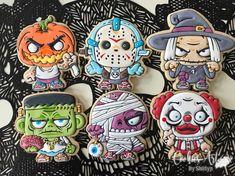No hay descripción de la foto disponible. Halloween Baking, Halloween Snacks, Halloween Fun, Halloween Decorations, Holidays Halloween, Galletas Cookies, Cupcake Cookies, Cupcakes, Halloween Cookies Decorated