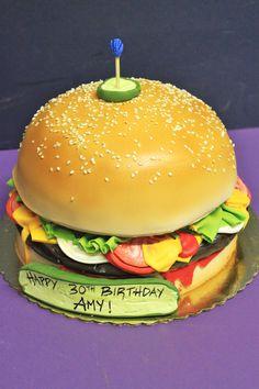 hamburger cake--i like the pickle on top