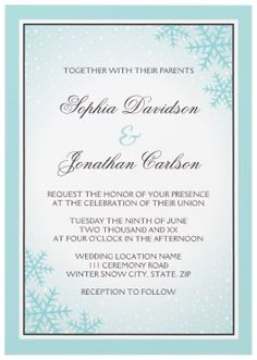 Ice snow and snowflakes pale aqua blue and brown winter wedding invitation