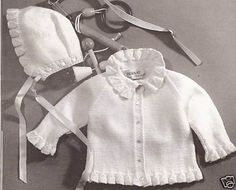 vintage baby cardigan and cap months MEASURES 12-18-24 months