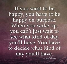 If you want to be happy, you have to be happy on purpose. When you wake up, you can't just wait to see what kind of day you'll have. You have to decide what kind of day you'll have.