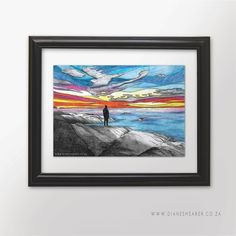 Coloured pencil and ink drawing Limited Edition Art Print x print within a black frame Camps, Colored Pencils, Ink, Art Prints, Sunset, Drawings, Frame, Decor, Art Impressions