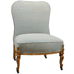 Fireside Chair, everything looks better in a nice blue ticking