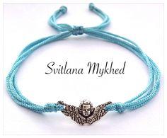 Bracelet Ange mètal argente cordon bleu. Bracelet de l'amitié, de l'amour à offrir ou s'offrir... : Bracelet par perles-et-couronnes