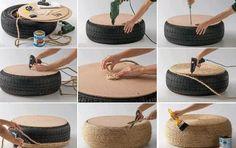 Étapes pour le recyclage des pneus poufs