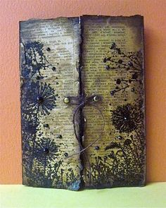 distressed journal cover with 'gate' opening