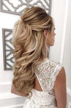 Half Up Wedding Hair, Wedding Hairstyles Half Up Half Down, Hairdo Wedding, Long Hair Wedding Styles, Wedding Hairstyles For Long Hair, Elegant Hairstyles, Wedding Hair And Makeup, Long Hair Styles, Bride Hairstyles Down