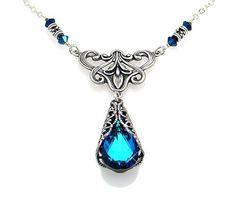 Victorian Style Swarovski Elements® Bermuda Blue Crystal Pendant Choker Necklace Jinique, http://www.amazon.com/dp/B005XT6GAQ/ref=cm_sw_r_pi_dp_4Wctrb0AA0844