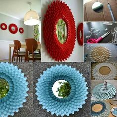 Plastic spoon flower mirror.