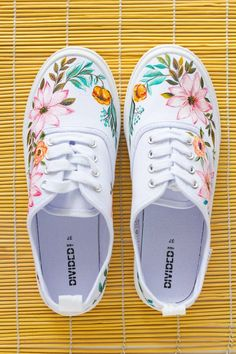 Hand painted Women Floral Canvas Shoes, white sneakers with flowers: Spring Time - diy shoes - Shoes White Canvas Shoes, Painted Canvas Shoes, Custom Painted Shoes, Painted Sneakers, Hand Painted Shoes, Painted Clothes, Custom Shoes, White Shoes, Painted Converse